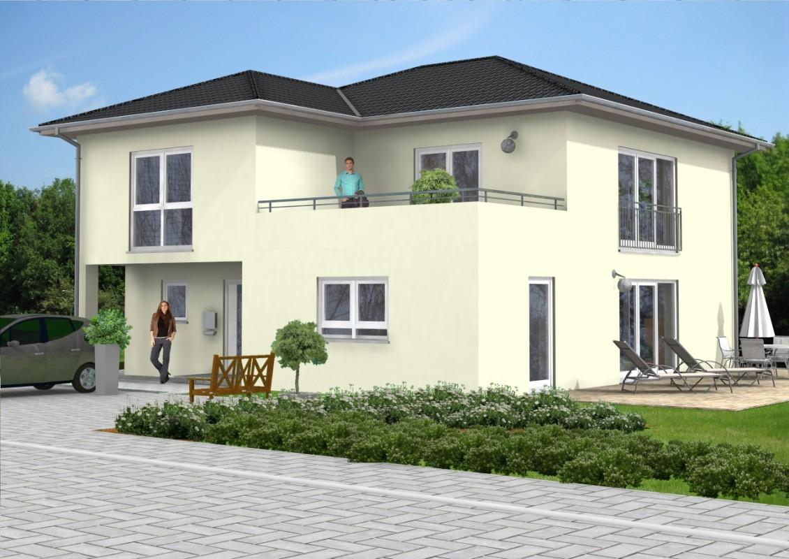 Walmdach haus 25 for Haus mit doppelgarage bauen